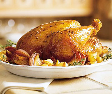 Herb Roasted Capon With Caramelized Onions Full Bird