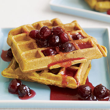 Pumpkin Waffles with Cranberry Honey