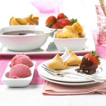 ice cream, chocolate-covered strawberries, fortune cookies