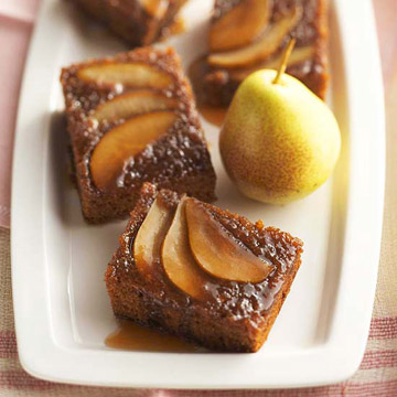 Upside-Down Pear Gingerbread