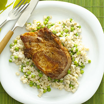 Pork with Creamy Barley and Peas