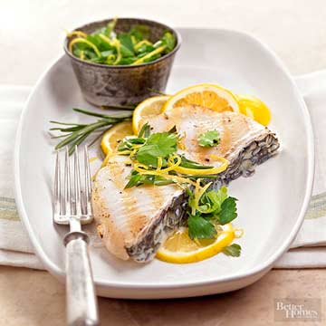 Grilled Bass with Lemon and Herbs