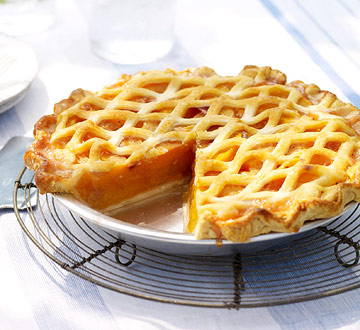 Lattice-Topped Peach Pie