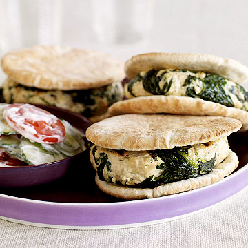 Spinach-Feta Chicken Burgers