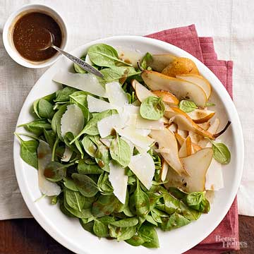 Spinach, Pear, and Shaved Parmesan Salad