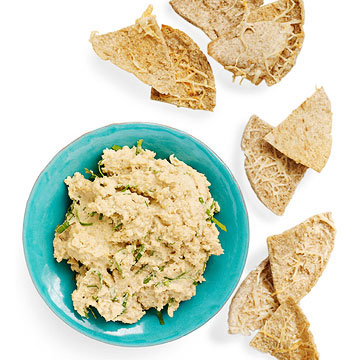 Hummus with Parmesan Pita Chips