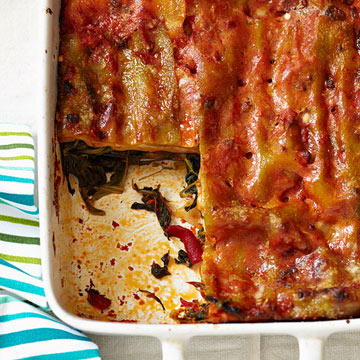 Spinach and Roasted Red Pepper Lasagna | Family Circle