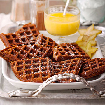 Gingerbread Waffles with Hot Lemon Curd Sauce | Midwest Living