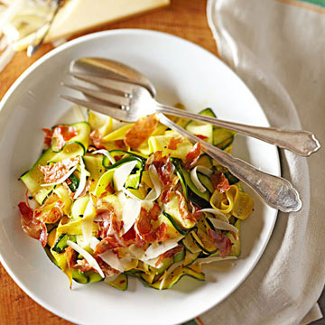 Squash Ribbons with Parmesan and Crisp Prosciutto | Midwest Living