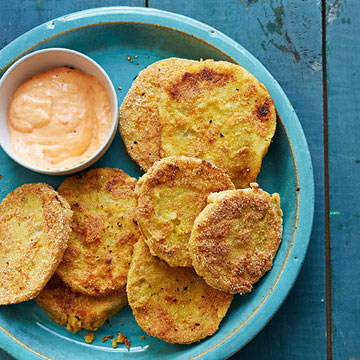 Fried Green Tomatoes with Red Pepper Aioli