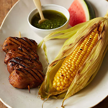 Chili Pork Kebabs with Pesto Corn and Watermelon