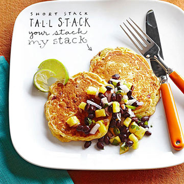 Mexican Cornmeal Pancakes with Black Bean and Pineapple Salsa ...