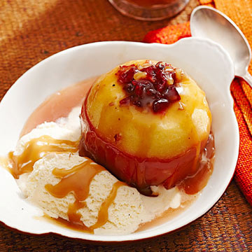 Cider-Baked Stuffed Apples with Salty Caramel Sauce | Midwest Living