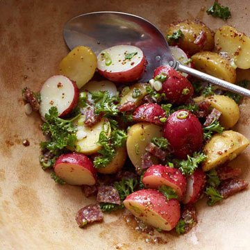 Potato salad with sausage and grainy mustard dressing midwest living for Better homes and gardens potato salad