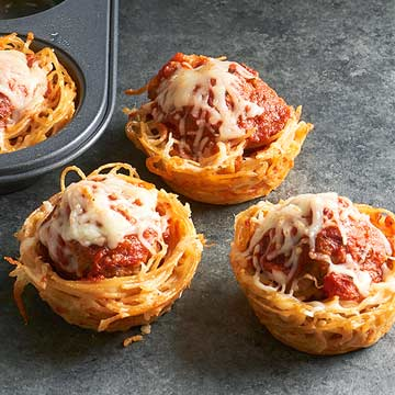 Mini Spaghetti And Meatball Pies Midwest Living