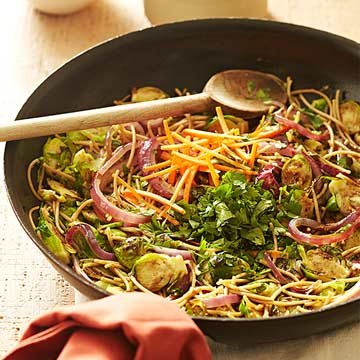 Brussels Sprouts and Noodle Stir-Fry with Cilantro and Almonds ...