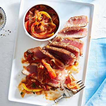 Pan-Seared Spicy Tuna with Sweet-and-Sour Salsa