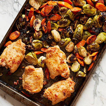 Parmesan Chicken Thighs and Veggies
