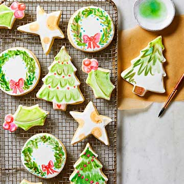 old fashioned sugar cookies with watercolor icing
