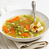 Edamame Soup with Feta Croutons