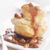 Pumpkin-Filled Cream Puffs with Maple-Caramel Sauce