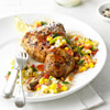 Plank-Smoked Chicken with Grilled Corn Relish