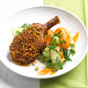 Chili-Peanut Pork Chops with Carrot-Cucumber Salad