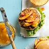 Cheddar-Stuffed Turkey Burgers with Peach Ketchup