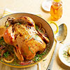 Honey Roast Chicken with Spring Peas & Shallots