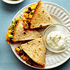 Edamame, Black Bean & Corn Quesadillas with Lime Crema