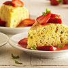 Olive Oil-Basil Cornmeal Cake with Strawberry Sauce