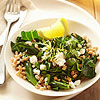 Collard Greens with Lemon, Farro, and Feta