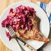 Pork Chops with Red Cabbage and Rhubarb