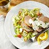 Pork Tenderloin with Lemon-Thyme Cream and Cabbage Apple Slaw