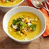 Sweet Corn Soup with Toasted Corn Guacamole