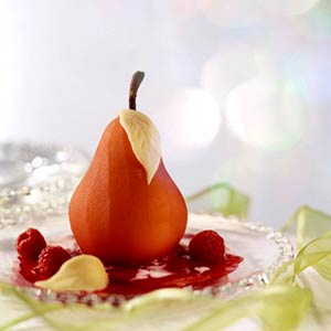 Poached Pears in Raspberry Sauce | Midwest Living