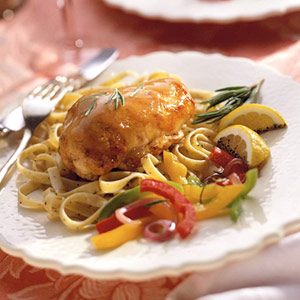 Chicken Fettuccine with Vegetable Compote