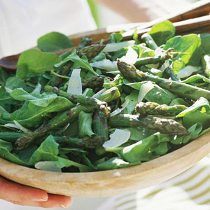 Grilled Asparagus & Arugula Salad with Shaved Parmesan