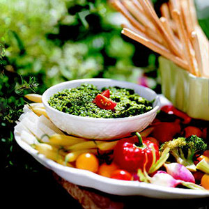 Gruyere-Walnut Pesto with Crudites
