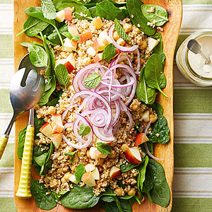 Baby Spinach Salad with Cumin Couscous and Bulgur