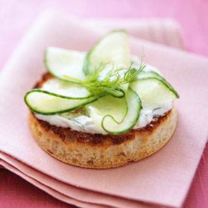 Cucumber and Dill-Sour Cream on English Muffin
