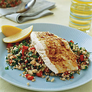 spiced halibut on tabbouleh salad