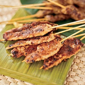 Chicken and beef sate on skewer
