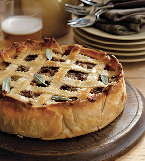 Sausage, apple and cheese pie