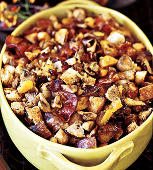 Chestnut-Sourdough Stuffing with Apricots, Roasted Mushrooms and Smoked Bacon