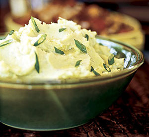 Whipped Potatoes and Parsnips with Horseradish-Scallion Puree