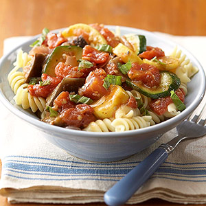 Ratatouille with pasta spirals