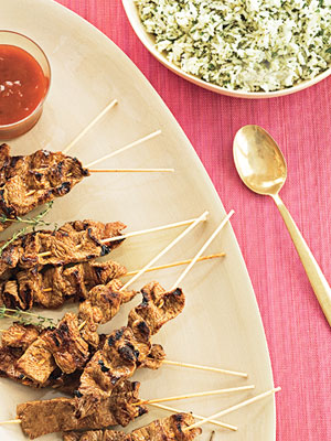Satay with Apricot-BBQ Dipping Sauce and Green Rice