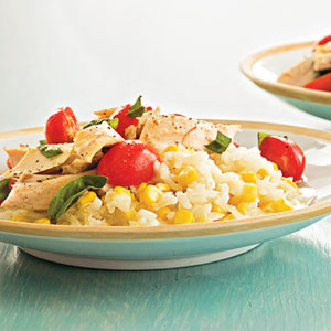 Sweet Corn Risotto with Chicken and Tomatoes