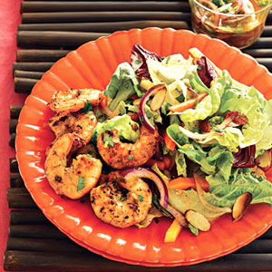 Garlic Shrimp Salad With Mango, Toasted Almonds and Citrus vinaigrette